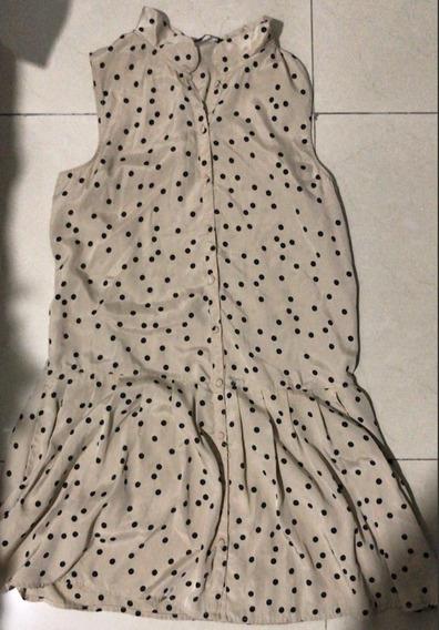 Vestido, Color Beige Con Puntos, Talla S.
