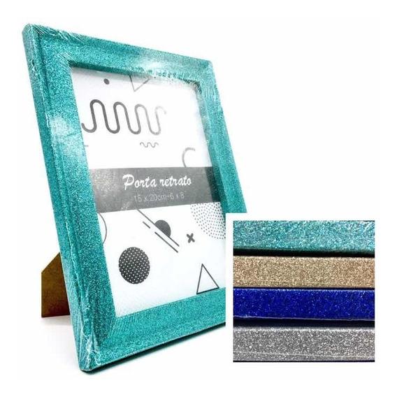 5 Porta Retrato 15x20 Quadro Moldura Madeira Glitter 4 Cores