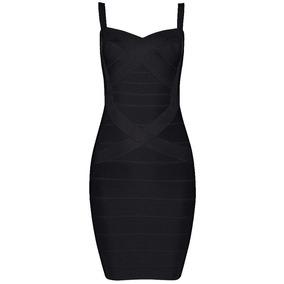 Vestido Faja Entallado Color Negro Elastizado