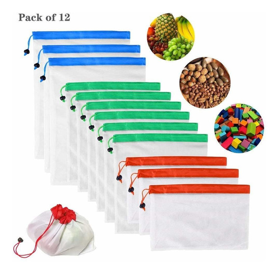12 Bolsas Ecologicas Reutilizables Frutas Verduras
