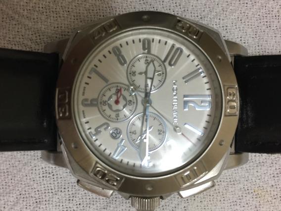 Relógio Mb Fundo Branco Pulseira De Couro - Enviando