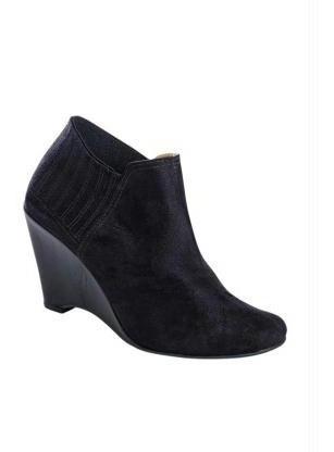 Ankle Boot Feminina Bota - Preto E Bege - Anabela Barato