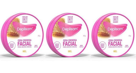 Depilsam Cera Cremosa Facial Microondas Mel 40g (kit C/03)