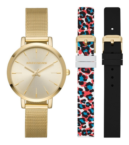 Imagen 1 de 8 de Set Reloj Mujer Skechers Acero Y Straps