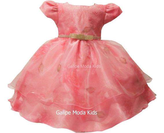 Vestido Infantil Coral Luxo Tamanho 1 Ao 3