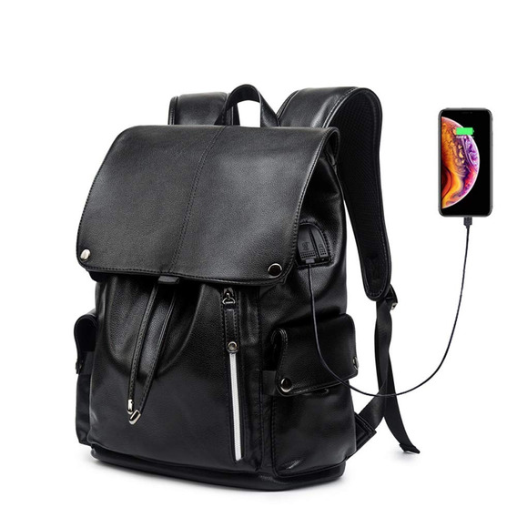 Kissun Business Travel Backpack, Pu Leather Laptop Backpa