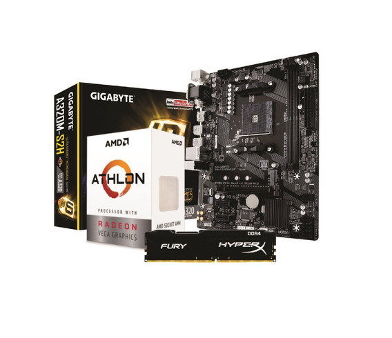 Kit Amd Athlon 3000g Gigabyte A320m S2h 4gb Fury 2400mhz