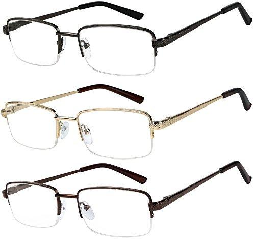 7b5aa74230 Gafas De Lectura Conjunto De 3 Gafas De Metal Medio Borde Pa