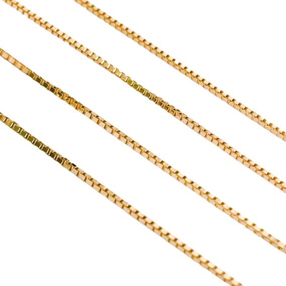 Corrente Cordão Veneziana 45cm Em Ouro 18k Feminina Full
