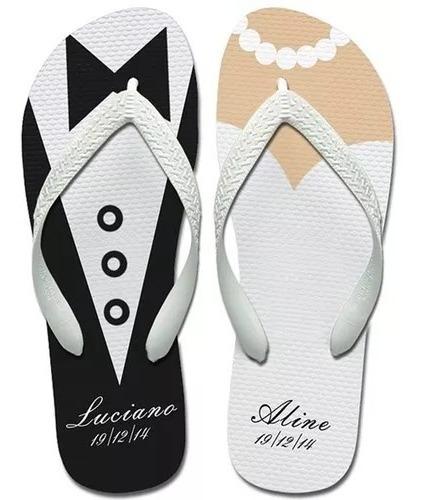 7 Chinelos Para Casamento + Embalagem Personalizadas