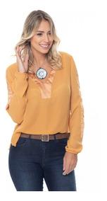 Camisa Feminina Sob Isabela Chiffon Com Cetim Caramelo