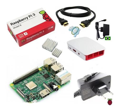 Imagem 1 de 2 de Kit Raspberry Pi3 Model B +fonte+case+dissipador Nota Fiscal