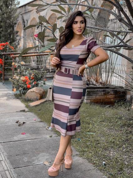 Vestido Midi Moda Evangélica Tubinho Cinto Listrado Princesa