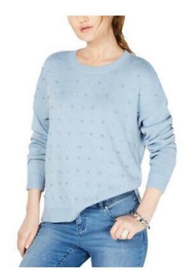 Inc International Concepts Sueter Azul Con Perlas Talla L