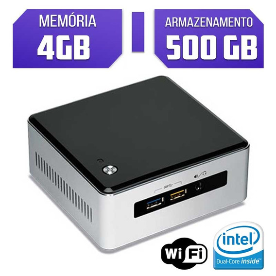 Mini Pc Intel Quad Core Ram 4gb Hd 500gb Wi-fi Nuc6cayh