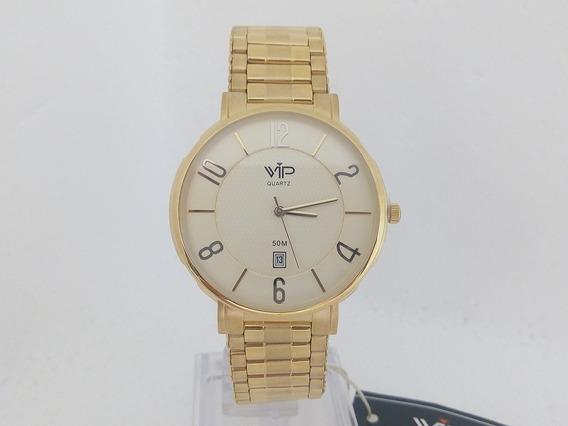 Relógio Vip Quartz Masculino Dourado Slim Banhado A Ouro