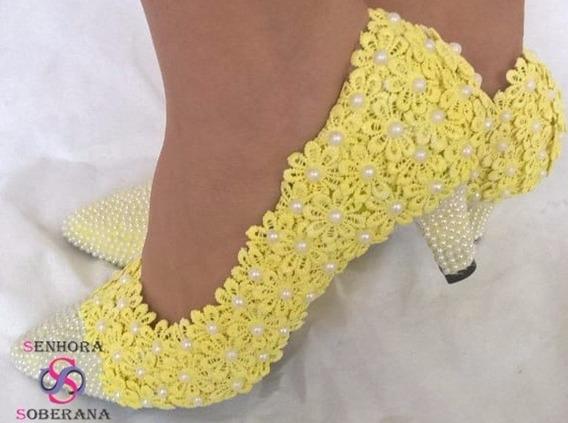 Sapato Amarelo Florado Com Bico Perolado (eventos)(noivas)