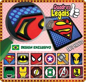 1 Placa 21x21 Super Heroi Quadro Em Relevo À Escolher