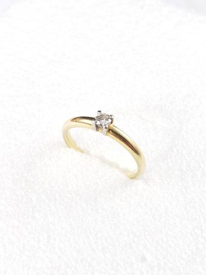Hstern Anel Solitario Ouro Amarelo Com Diamante De 15 Pontos