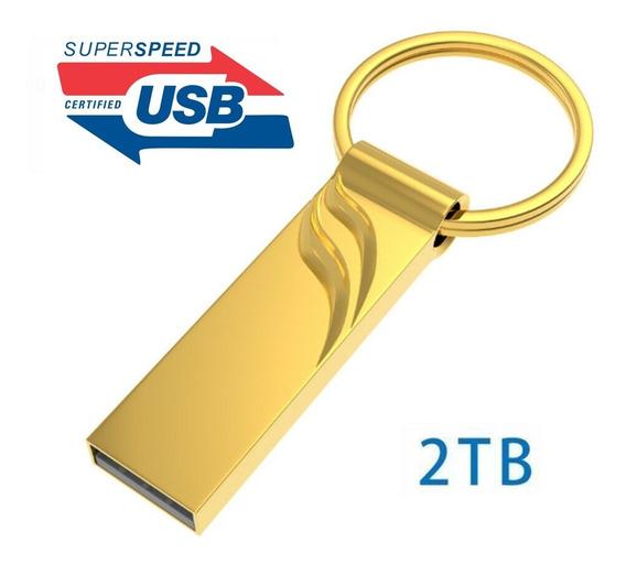 Pen Drive 2tb Usb 3.0 Dourado Alta Velocidade Transferência
