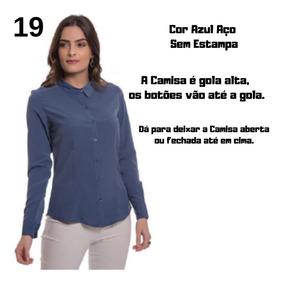 Camisa Social Feminina Aishty Estampada E Lisa P Ao Xgg