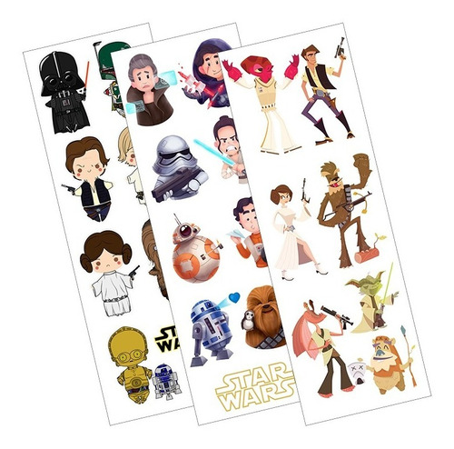 Plancha De Stickers De Star Wars Darth Vader Han Solo Leia