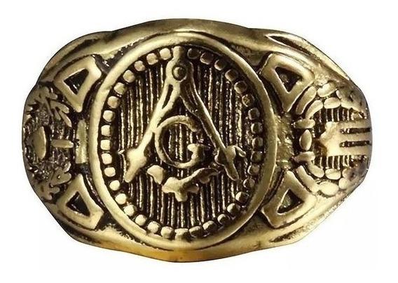 Anel Ordem Dos Templários Maçonaria Titânio Banhado Ouro 18k