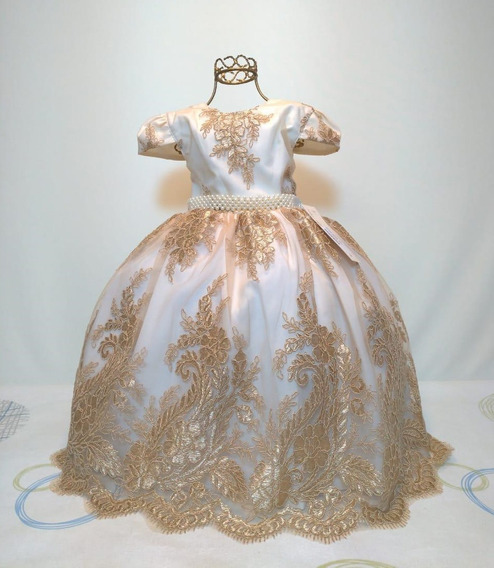 Vestido Infantil Realeza Rainha Dourado Luxo 4 A 12 Anos