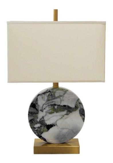 Abajur Com Base Em Metal Dourado E Mármore Branco Flower Com Cúpula - 61×40x23cm