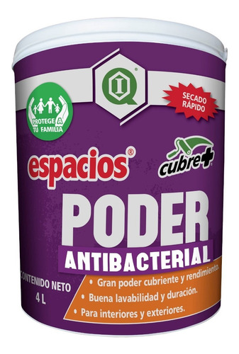 Pintura Antibacterial / Interiores Y Exteriores / Blanco 4l