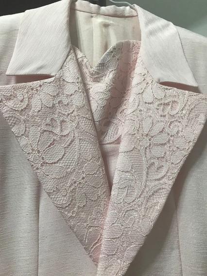 Vestido Y Saco Formal Talle S , Nuevo !! Color Rosa Pastel