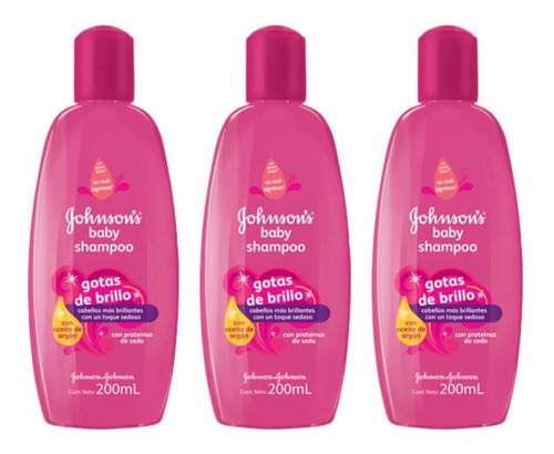 Johnsons Baby Gotas De Brilho Shampoo 200ml (kit C/03)