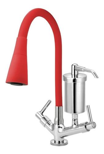 Torneira Filtro Cozinha Mesa Color Flexível Cone 2 Jatos