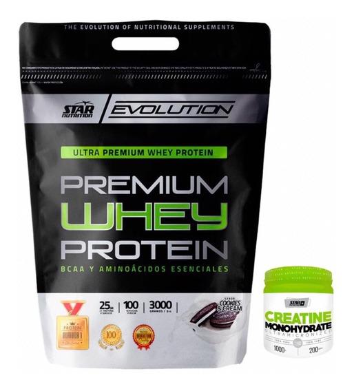 Premium Whey Protein Star Nutrition 3 Kg + Creatina 1 Kg