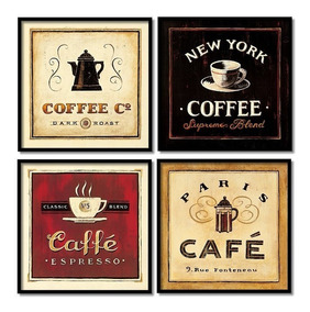 Café Paris Quadros Decorativos Coffee New York 4 Quadros