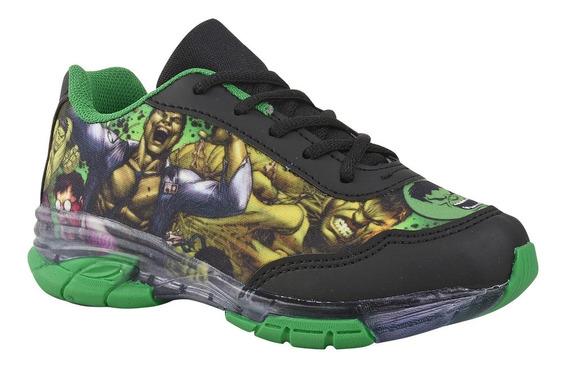 Tênis Juvenil Masculino Hulk Com Luz.