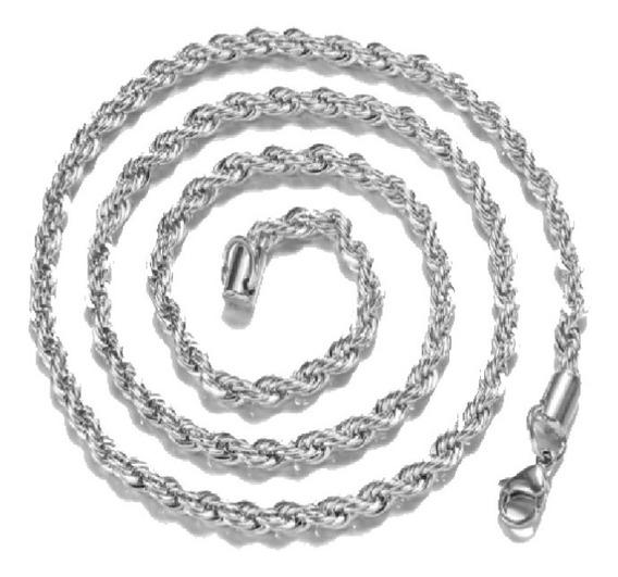 Cadena Tourbillon Plata 925 61cm Y 4mm Collar Caja Regalo