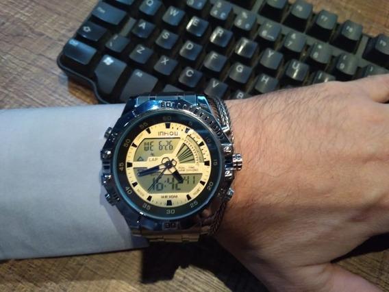 Relógio Social Sport Digital E Ponteiro