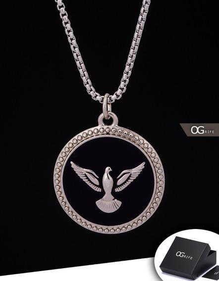 Corrente Cordão + Pingente Espírito Santo Paz J-479 Passaro