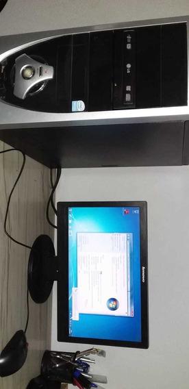 Computador Com Monitor Lenovo Windows 7 Cpu Dual Core 3 Gb