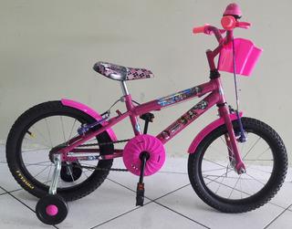Bicicleta Aro 16 Feminina Rosa Pink Adesivo Monster High