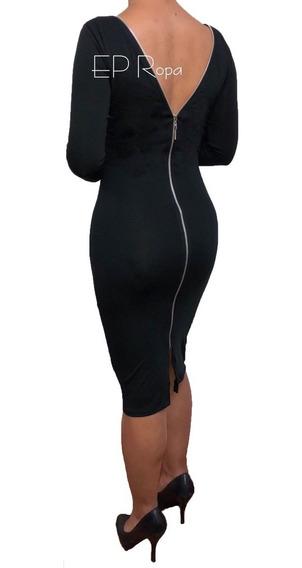 Vestido Largo Cremallera Espalda Formal Moda Mujer Elegante