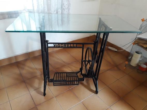 Base Antiguidade Máquina De Costura Vigorelli C/ Tampo Vidro