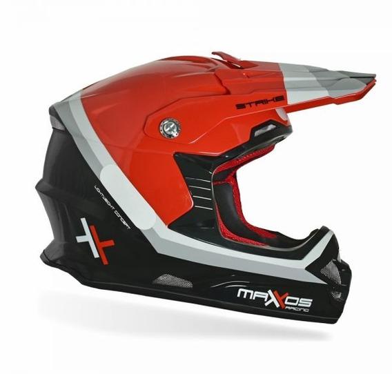Capacete Mattos Racing Mx Pro Strike Vermelho+ Óculos Mattos