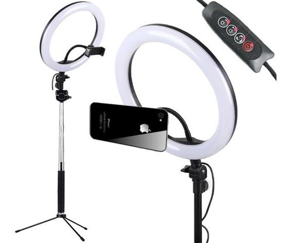 Promoção Ring Light Led Bivolt Vídeos Tripé Pro Duas Temperaturas Com Suporte Para Celular Youtuber Maquiador Selfie
