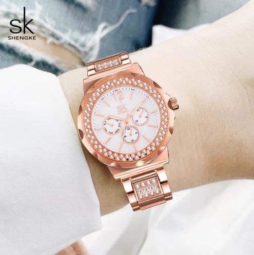 Relógio Moda De Cristal Rosê De Aço Inoxidável