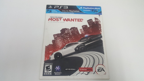 Need For Speed Most Wanted - Ps3 - Original - Capa De Papel