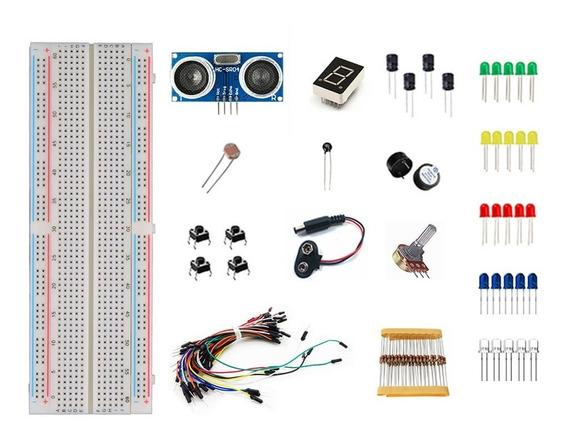 Kit Componentes 116 Peças P/ Arduino Uno + Sensor Hc-sr04