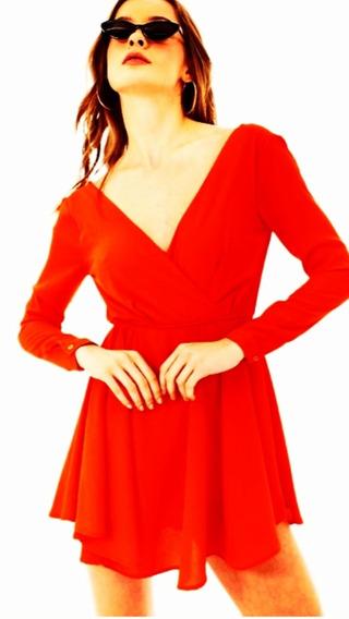 Vestido/manga Larga / Rojo/ Talla Med. Shasa