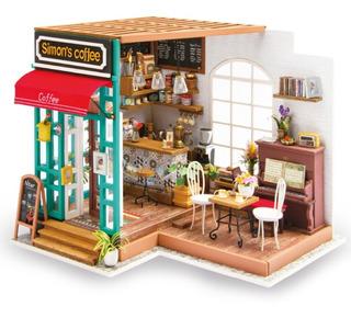 Casa Armable Miniatura De Madera Con Luz Led Cafetería 23 Cm